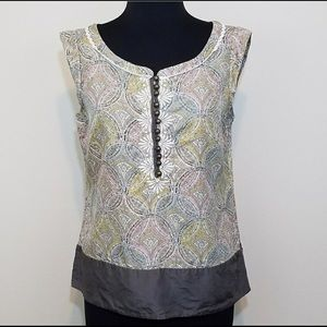 Anthropologie Floret Silk Sleeveless Blouse